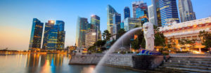The Merlion fountain Singapore skyline.